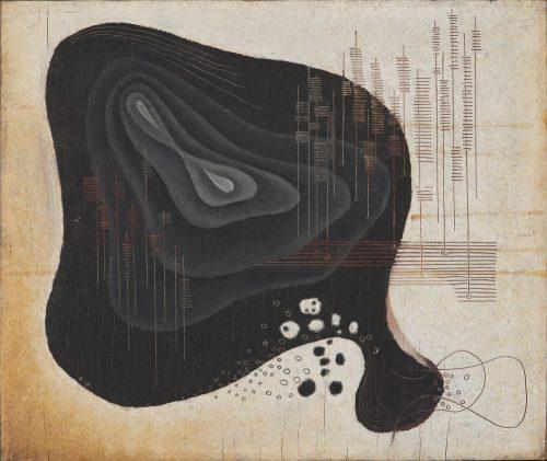 Alfred Ehrhardt, Ohne Titel (Abstrakte Komposition), 1930, Tempera auf Holz (Masonit), 35,5 x 42,2 cm, © Alfred Ehrhardt Stiftung