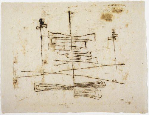 Alfred Ehrhardt, Ohne Titel (Linienkomposition), 1931, Monotypie von Holzplatte auf Japanpapier, 35,0 x 45,0 cm, © Alfred Ehrhardt Stiftung