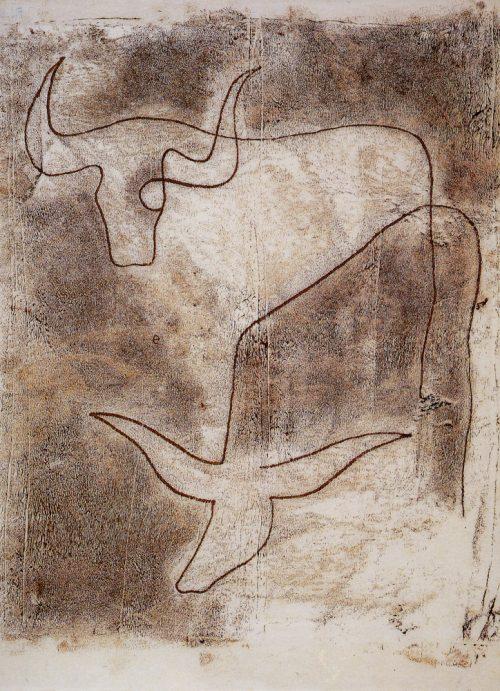 Alfred Ehrhardt, Ohne Titel (Tiere), nicht vor 1930, Monotypie von Holzplatte auf Japanpapier, 43,5 x 35,0 cm, © Alfred Ehrhardt Stiftung
