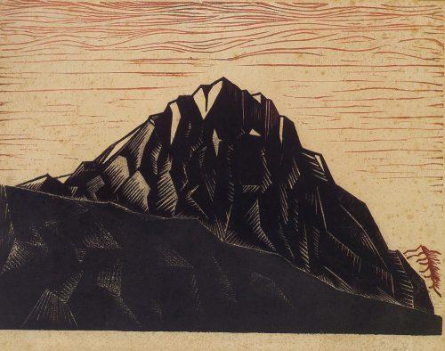 Alfred Ehrhardt, Ohne Titel (Berglandschaft), undatiert, Farbholzschnitt auf stark strukturiertem Maschinenpapier, 44,7 x 57,8 cm / 35,4 x 47,2 cm, © Alfred Ehrhardt Stiftung