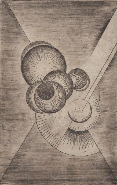 Alfred Ehrhardt, Mondformen, undatiert, Radierung auf Papier, 54,0 x 37,8 cm / 35,3 x 22,7 cm, © Alfred Ehrhardt Stiftung