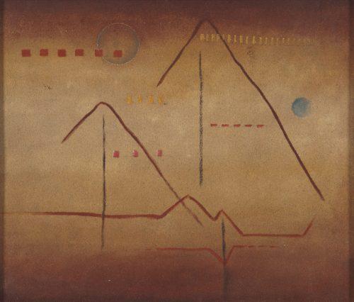 Alfred Ehrhardt, Ohne Titel (Pyramiden), undatiert, Tempera und Sand auf Holz (Masonit), 35,0 x 40,5 cm, © Alfred Ehrhardt Stiftung