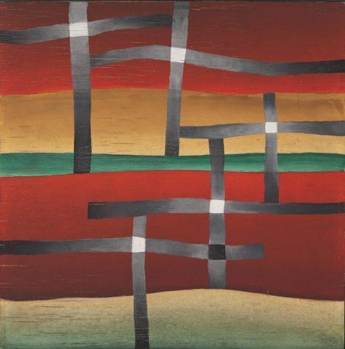 Alfred Ehrhardt, Landschaft mit Kreuzen, 1930, Tempera auf Holz (Masonit), 40,9 x 40,9 cm, © Alfred Ehrhardt Stiftung