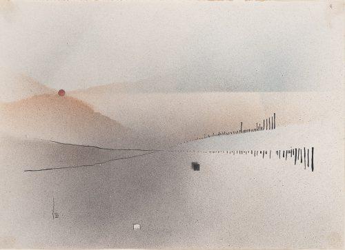 Alfred Ehrhardt, Tiefe I, undatiert, Aquarell (Spritztechnik) und Tusche auf Büttenpapier, 26,8 x 37,0 cm, © Alfred Ehrhardt Stiftung