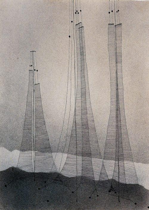 Alfred Ehrhardt, Netze, 1929, Aquarell (Spritztechnik) und Tusche auf Büttenpapier, 37,0 x 26,7 cm, © Alfred Ehrhardt Stiftung