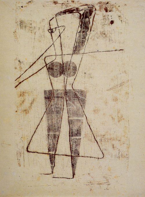 Alfred Ehrhardt, Ohne Titel (Tänzerin), nicht vor 1930, Monotypie von Holzplatte auf Japanpapier, 51,0 x 38,5 cm, © Alfred Ehrhardt Stiftung