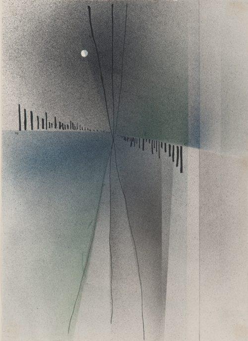 Alfred Ehrhardt, Tiefe II, 1929, Aquarell (Spritztechnik), Tusche und Bleistift auf Büttenpapier, 37,0 x 26,8 cm, © Alfred Ehrhardt Stiftung